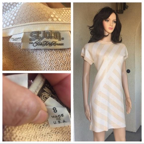 St. John Dresses & Skirts - Vintage Mod 60s St. John beige dress size 8